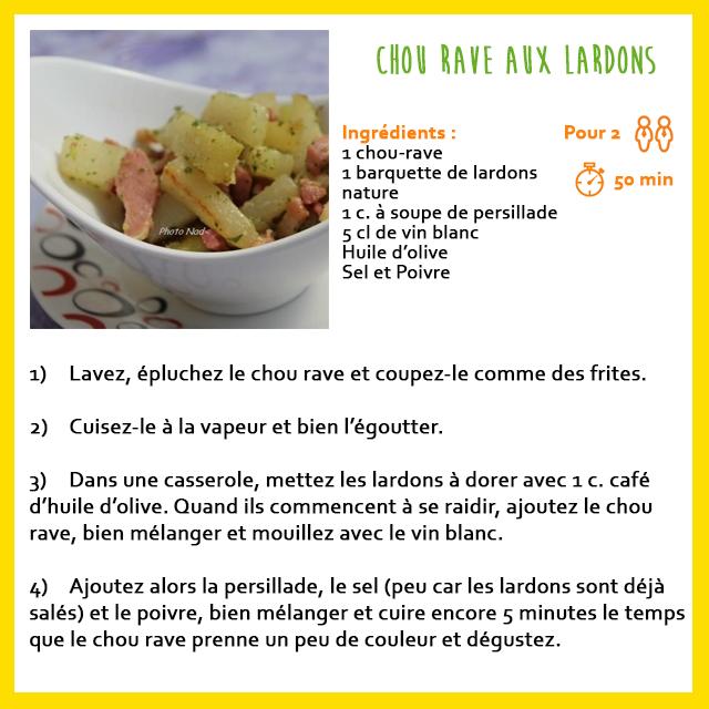 chou rave aux lardons - recette facile