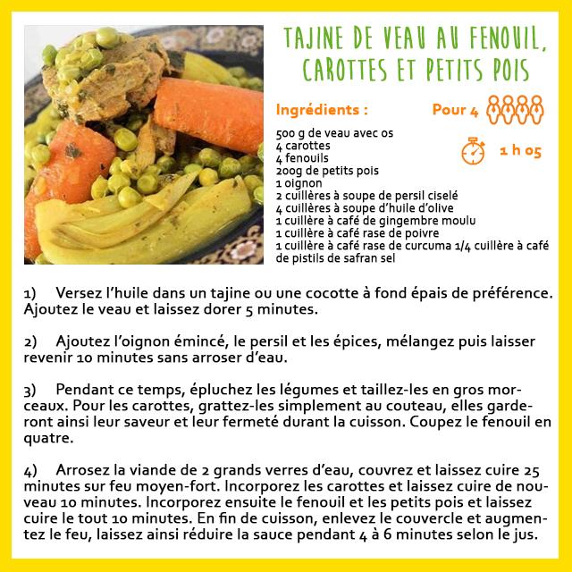 Tajine de veau au fenouil carottes et petits pois - recette facile