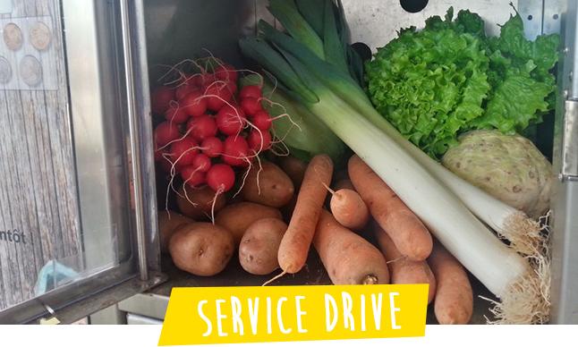 service drive par casiers de fruits et legumes